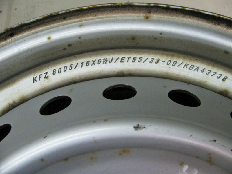 Felge: 61/2JX16 H2 ET55 LK5X100X56,11Satz(je4Stück)
